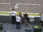 Gillian and Scott at the Gresini pit wall during MotoGP practice
