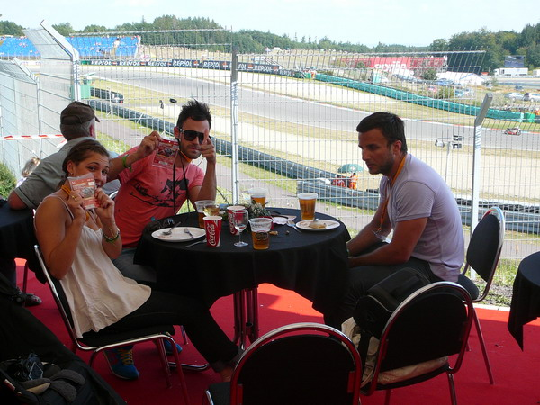 A beer with a view at our 2009 Pole Position Club in Brno