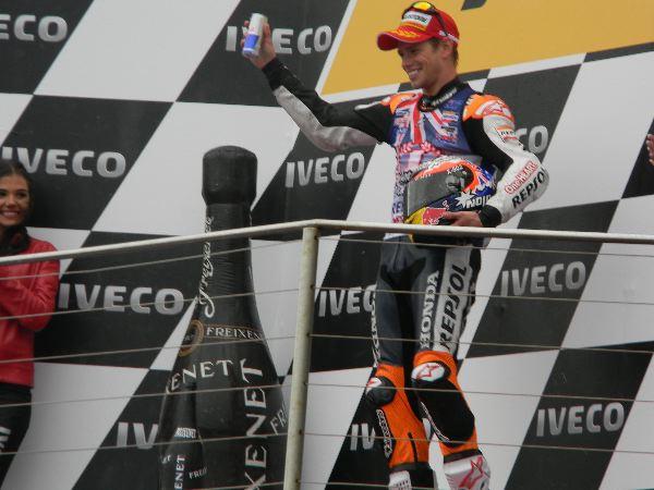 Casey Stoner on Phillip Island podium 2011